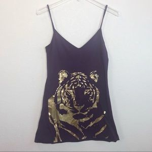 Torn by Ronny Kobo purple Tiger tank top small